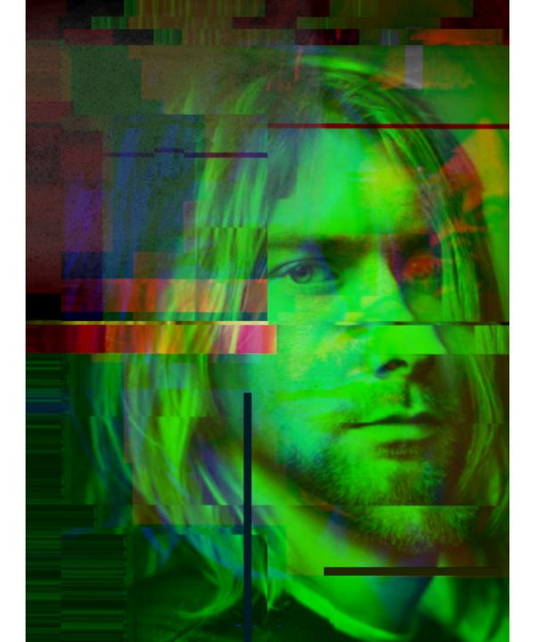 Kurt Cobain Pixelated Abstract Art - red-amber65