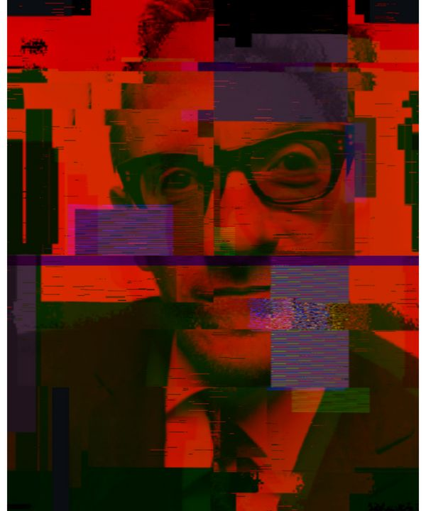 Elvis Costello Pixeled Abstract Art - red-amber65