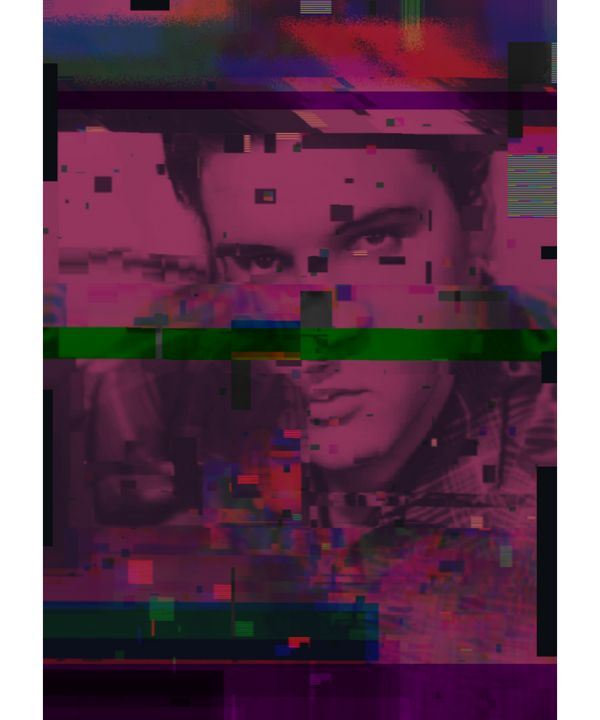 Elvis Presley Pixelated Abstract Art - red-amber65