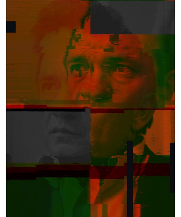 Johnny Cash Pixelated Abstract Art - red-amber65