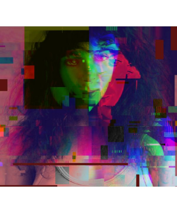 Kate Bush Pixelated Abstract Art - red-amber65