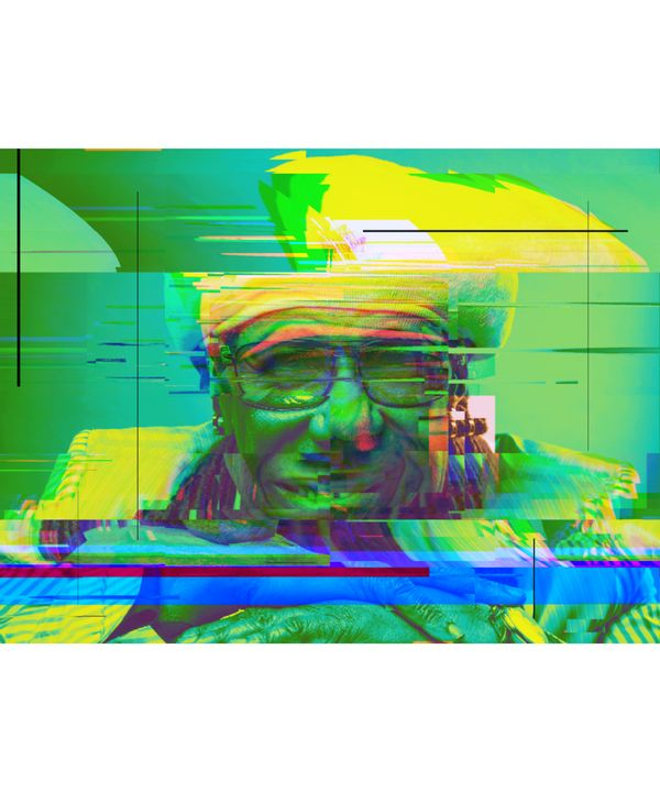 Nile Rodgers Pixelated Abstract Art - red-amber65
