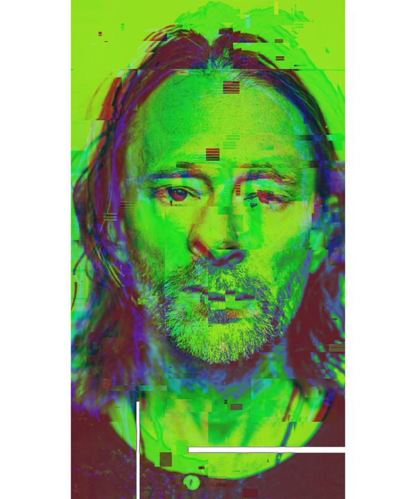 Thom Yorke Pixelated Abstract Art - red-amber65