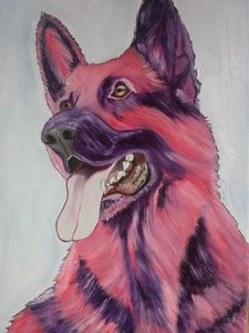 DOG  PINK SMILING  SHEPHERD #  2