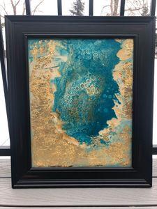 """16x20 Pour Gold & Aqua """"Ocean Size"""""""