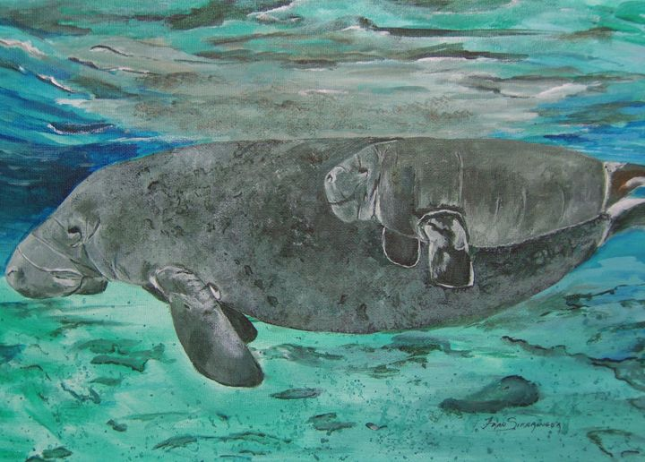 Manatee and her Calf - Fran Parker