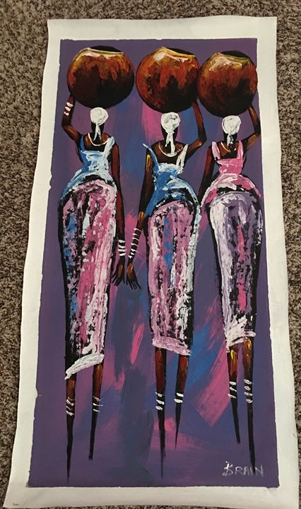 3 Sisters Carrying Water - AuthenticAfricanArt