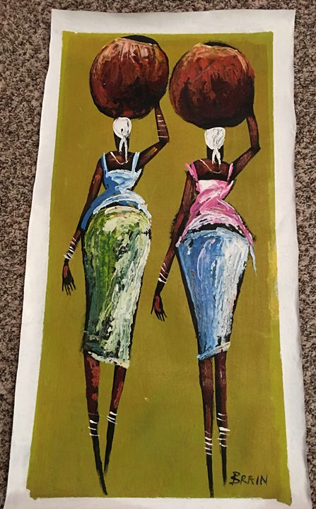 2 Sisters Carrying Water - AuthenticAfricanArt