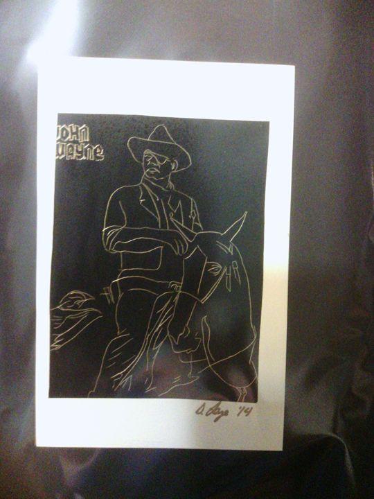 John Wayne Scraper Portrait - Scraperfun
