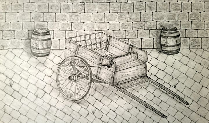 old cart - A malins sketch art.