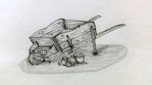 old wheelbarrow. - A malins sketch art.