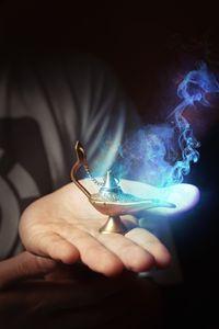 Magic lamp unleashing a spirit