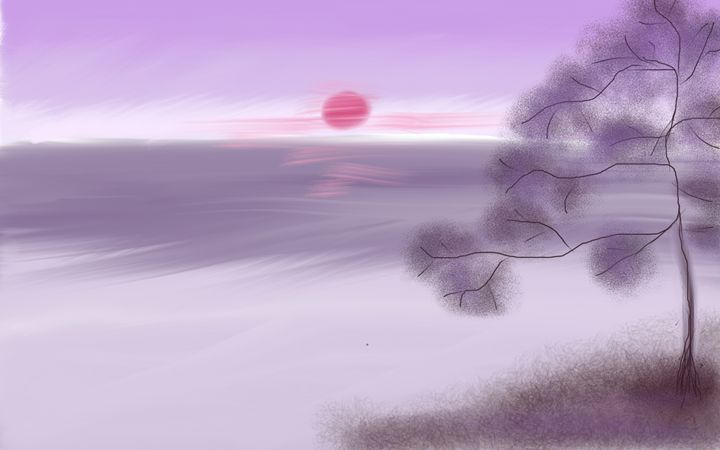 Purple Sunrise Asian Landscape - Eliza Donovan