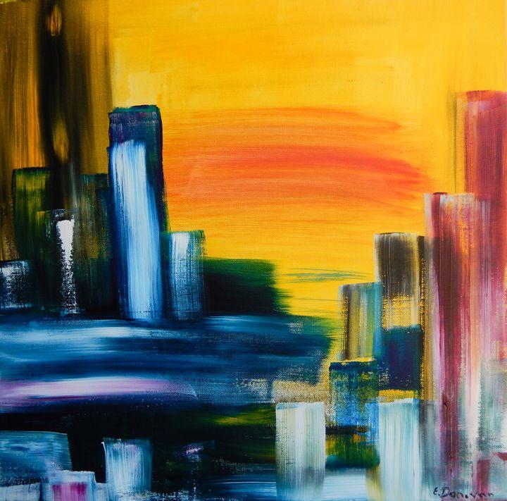 City Sunrise Abstract Cityscape - Eliza Donovan