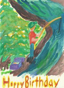 Boy fishing at river