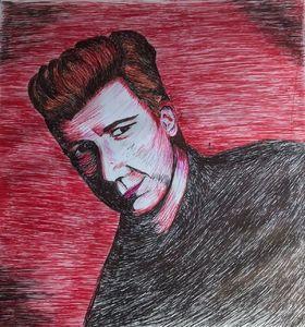 Rick Astley - pen and ink drawing