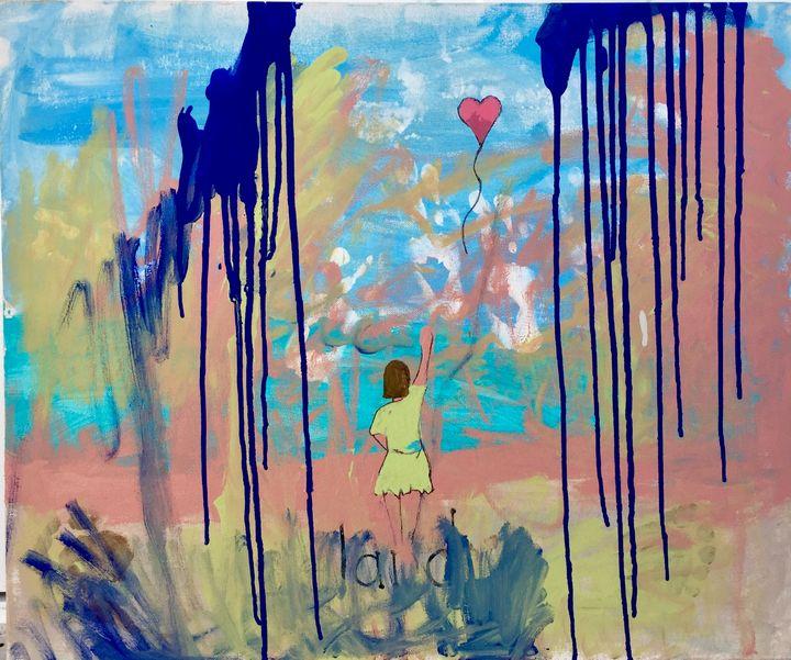 2ft Canvas Girl Ballon Graffiti Pain - Reuv Art