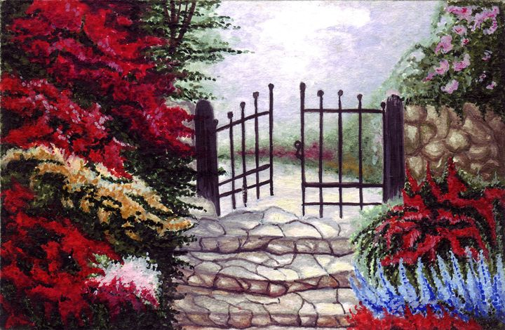 Gate and step stones - Paintings