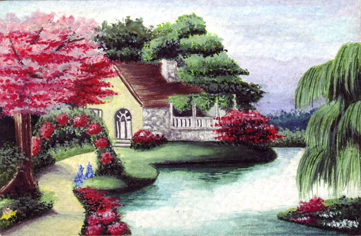Cottage and Pond - Paintings