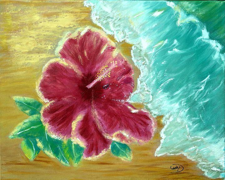 Springs Hibiscus by the beach - Leah Dennis Art