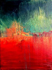 Red and Green Abstract - Maja Sipilovic Art