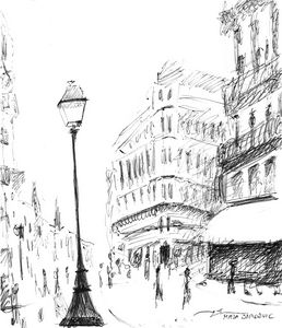 Sketch of a Street in Paris