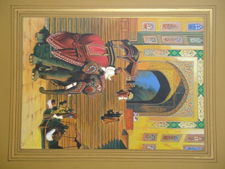 Royal Elephant Sawari Painting - balaji arts
