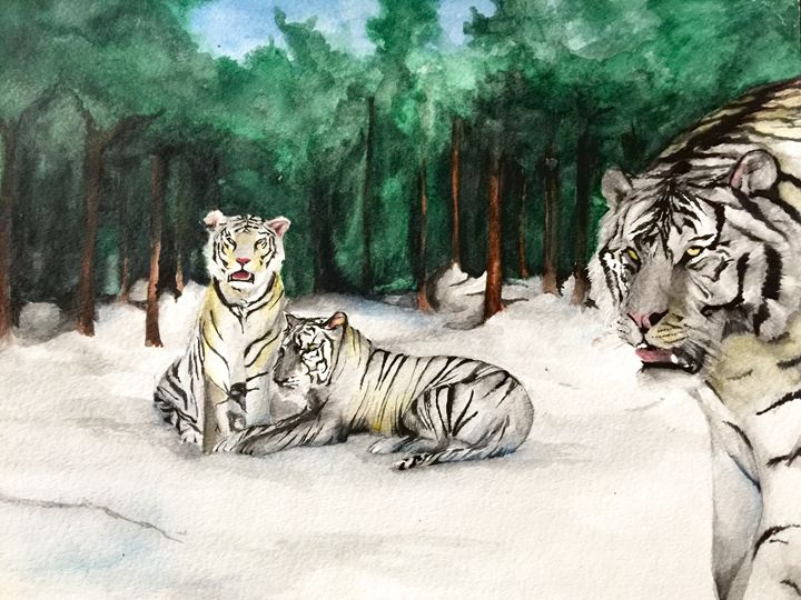 Tigers in the woods - Caren G