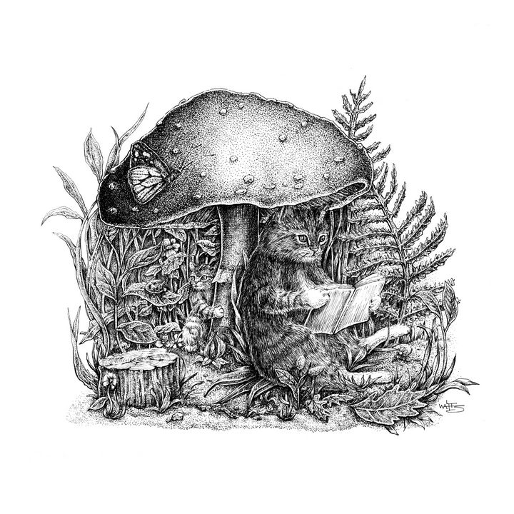 The Cats and The Mushroom - Gnostic Forest Art