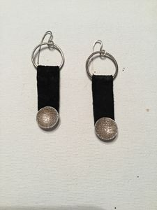 Suede & Fine Silver Earrings