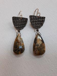 Opal & Oxidized Fine Silver Earrings