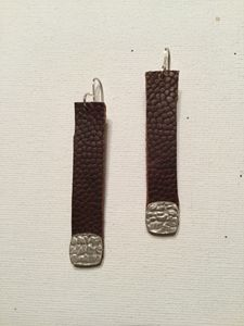 Pebbled Leather & Fine Silver Earrin