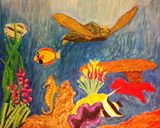 14x16in Under Da Sea oil pastels
