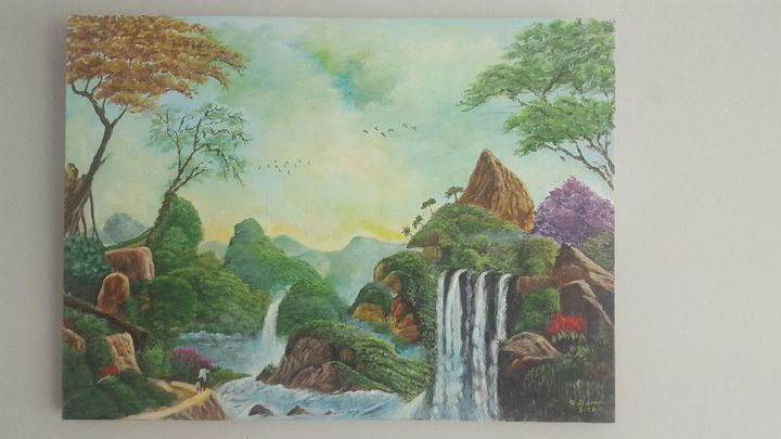 Painting on canvas (waterfalls) - Mes chefs-d'oeuvre