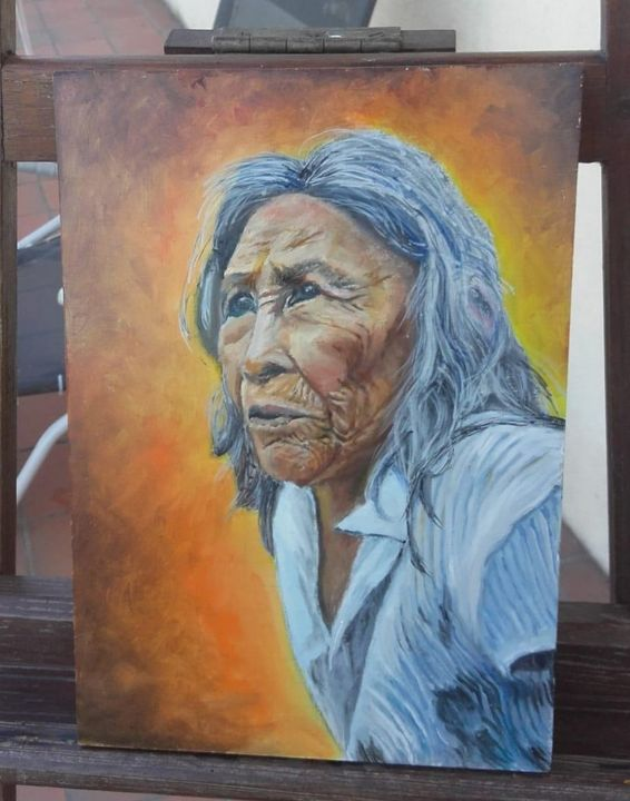 Old Colombian Woman - Painting - Mes chefs-d'oeuvre