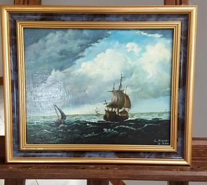 Oil painting - vintage ships