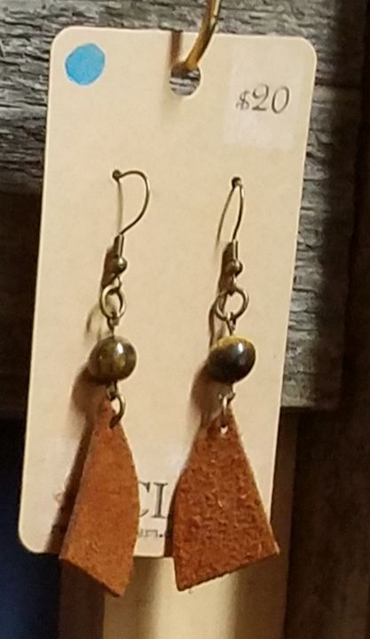 Stone and Leather Earrings - RCLeathers