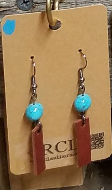Turquoise and Leather Earrings - RCLeathers
