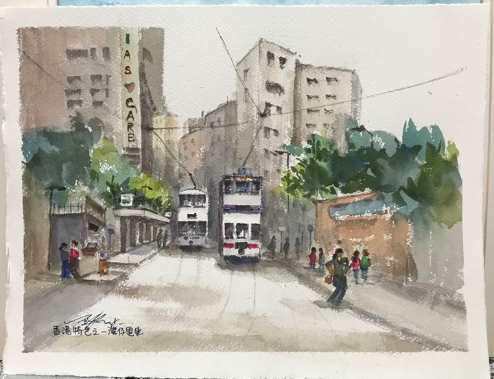 Tram, Wanchai, Hong Kong - Watercolour by Margaret Lor