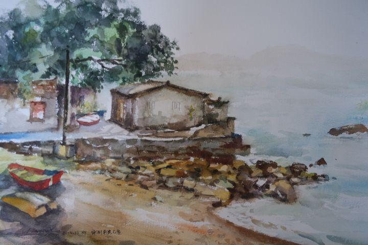 Stonehouse, Hong Kong - Watercolour by Margaret Lor