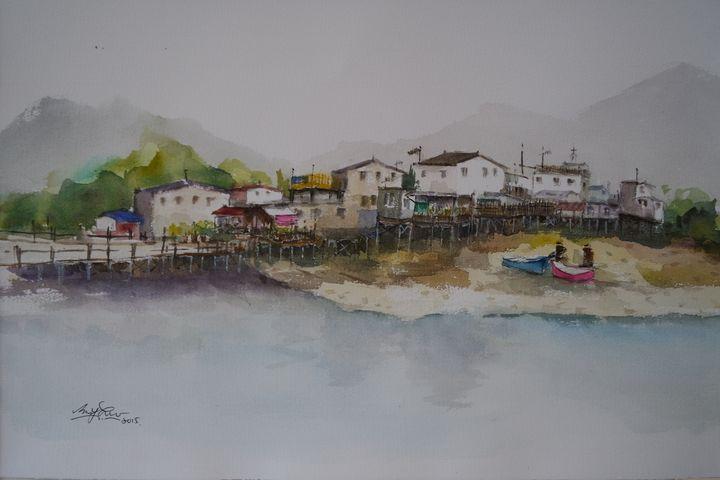 Tai O, Fish Village, Series 1, HK - Watercolour by Margaret Lor