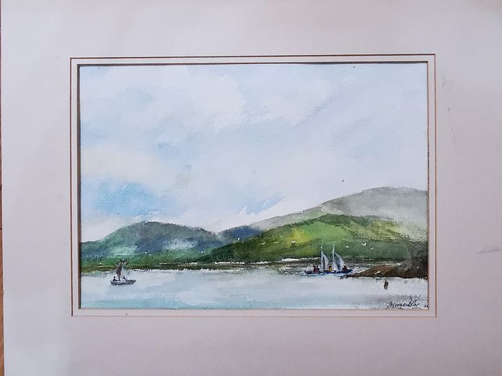 Windsurfing in Hong Kong - Watercolour by Margaret Lor