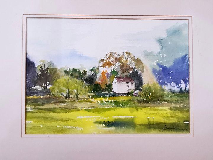 Cottages - Watercolour by Margaret Lor