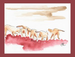 Hunting dogs, original watercolor