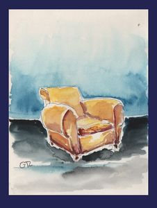 Brown armchair original watercolor