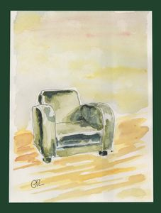 Green armchair original artwork