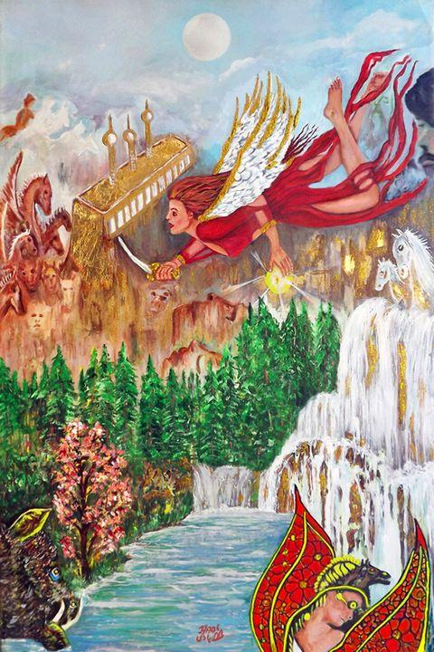 Gold wing and the hors men - hadi hoss art