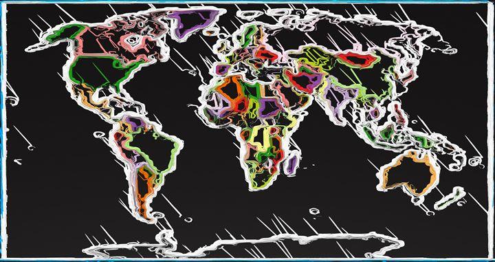 Abstract Map of World - PrintArt.US