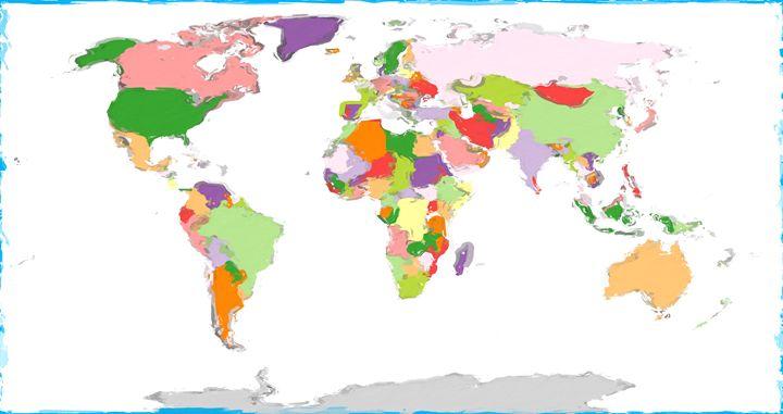 Painted World Map - PrintArt.US