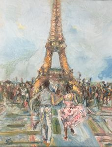 Running to Eiffel Tower (Two Lovers)